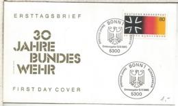 ALEMANIA FDC BONN 30 AÑOS REPUBLICA FEDERAL BANDERA FLAG - Briefe