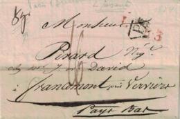 Pli De Suresne => Francomont. 22/07:1824. Cachets LFR3, Frankkryk Over Dinant, P. Lavoir De Laines De A. Truelle. - 1815-1830 (Dutch Period)