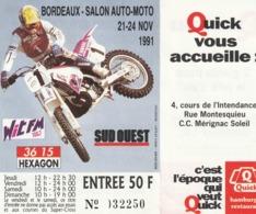 BORDEAUX - SALON AUTO-MOTO - 21-24 NOV. 1991 - Tickets - Entradas