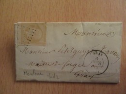 Timbre Napoléon III Non-dentelé 10c YT 13A Sur Lettre - Impression Défectueuse De 1857 Citron - Circulé En 1858 - 1849-1876: Classic Period