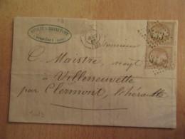 Timbre Napoléon III 10c YT 21 Sur Lettre - Ob. GC 2433 Sommières Vers Villeneuvette - 1867 - 1849-1876: Classic Period