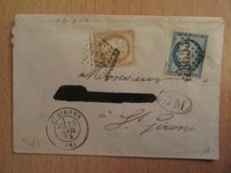 2 Timbres Cérès 10 Et 15c YT N°55 Et 60C - GC 3653 (St Girons) + BM Boîte Mobile - 1875 - 1849-1876: Classic Period