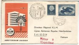 HOLANDA 1959 PRIMER VUELO KLM AMSTERDAM SAIGON AL DORSO LLEGADA - Correo Aéreo