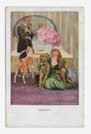 Robert Sedlacek  1920y.  Hunde Bewachen Ihr Frauchen Im Schlafzimmer  D120 - Künstlerkarten