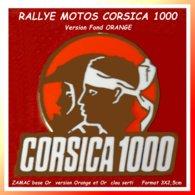 SUPER PIN'S RALLYE-MOTOS : Le CORSICA 1000 Comparable Au TROPHY CAMEL, Version Fond ORANGE, ZAMAC Base Or  3X2,5cm - Motorfietsen