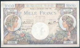 °°° FRANCE - 1000 FRANCS 24/10/1940 °°° - 1871-1952 Antichi Franchi Circolanti Nel XX Secolo