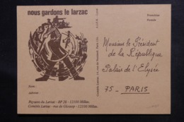 FRANCE - Carte Postale En Franchise Postale Du Comité Du Larzac En 1978 Le Palais De L 'Elysée,  Non Circulé - L 46906 - Storia Postale