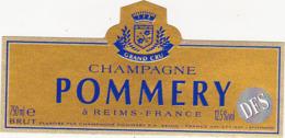 Etiquette Champagne BRUT (DFS) POMMERY à Reims (51) / 750 Ml - Champagne