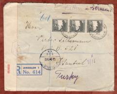 Palaestina Palestine, Einschreiben Reco, Rahels Grab, Jerusalem Ueber Haifa Nach Istanbul, Zensur 1942 (81951) - Andere