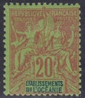 French Oceania, Scott #10, Mint Hinged, Navigation And Commerce, Issued 1892 - Oceania (1892-1958)