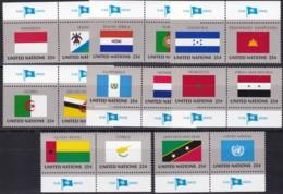 UNO-New York, 1989,  579/94,  MNH **, Flaggen Der UNO-Mitgliedstaaten (X). - New York – UN Headquarters