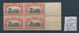 BELGIAN CONGO 1910 ISSUE COB 61 X4 MNH - 1894-1923 Mols: Neufs