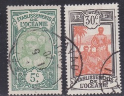 French Oceania, Scott #24, 37, Used, Tahitian Girl, Kanakas, Issued 1913 - Oceania (1892-1958)