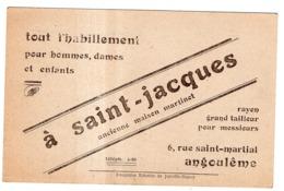 A SAINT-JACQUES 6 RUE SAINT-MARTIAL ANGOULEME TOUT L'HABILLEMENT POUR HOMMES, DAMES, ENFANTS - Werbepostkarten