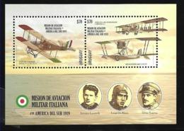 URUGUAY 2019 ITALY MILITARY AVIATION MISSION 50th ANIV AVIONS,PILOTS S/SHEET MNH - Uruguay