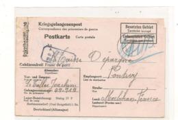 1941 PRISONNIERS DE GUERRE CARTE DU STALAG DE HARMANNSDORF POUR PONTIVY ( MORBIHAN) - Marcophilie (Lettres)