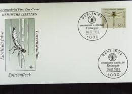 BRD: Künstler-FDC-Brief Mit 80 Pf Quelljunkfer Mit PF II SoSt. Berlin 12 Vom 9.7.91 Knr: 1551 II - Covers & Documents