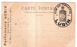 PARFUMERIE LUBIN 11 RUE ROYALE PARIS 8e CARTE PUBLICITAIRE AVEC CACHET EAU DE TOILETTE LUBIN - Publicidad