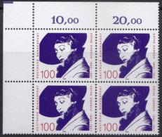 """BRD, 1990 Nr. 1483 **,  Viererblock Mit Eckrand Oben Links, """"Käthe Dorsch"""" - Nuovi"""