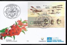 II08-URUGUAY 2019 ITALY MILITARY AVIATION MISSION 50th ANIV AVIONS,PILOTS S/SHEET FDC - Aerei