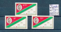 KATANGA TSHOMBE FLAG RED CROSS SET COB 66/68 IMPERFORATED MNH - Katanga