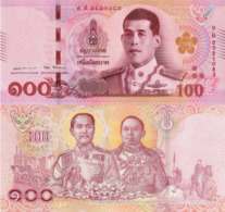 THAILAND COMMEMORATIVE 100 BAHT 2018 P137, KING RAMA V & KING RAMA VI, UNC - Thailand