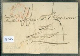 POSTHISTORIE * VOORLOPER * HANDGESCHREVEN BRIEF Uit 1845 Van  ROZENDAAL Via ANVERS Naar GENT GAND (11.622) - Nederland