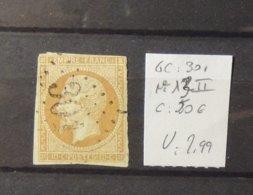 11 - 19 // France N°13 II Oblitéré GC 301 - Rare - Cote : 50 Euros - 1853-1860 Napoléon III