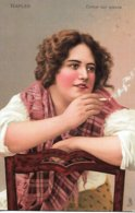 """Unknown Tuck Artist  -  A Neapolitan Girl Seated On A Chair Smoking A Cigarette : """"Sweet Doing Nothing""""   - 2632. - 1900-1949"""