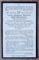 Lucia, Dimphna Berthina Peetermans, Echtgeoote Van Joannes Franciscus Vennekens / Gheel 8/6/1903 - 04/04/1929 - Esquela