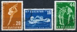 Y85 Bulgaria 1958 1076-1078 Student Sports Games. Volleyball. Swimming. Gymnastics - Briefmarken
