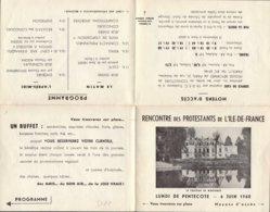 Dep 77 , Dépliant ; Rencontre Des Protestants De L'Ile De France , Le Chateau De MORFONDE , 6 Juin 1960  (12633) - Folletos Turísticos