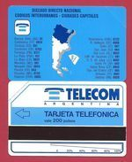 D6 200 U Argentina Map Telecom Argentina - 1992 - URMET Neuve Mint (BX1216 - Argentina