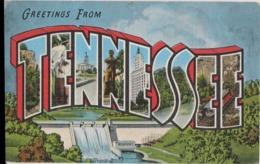 LARGE LETTER MAP OF TENNESSEE Postcard - Etats-Unis