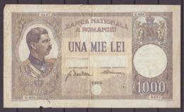 1000 Lei 15/3/1934 Roumanie / Romania Carol II. Used. - Romania