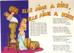 G JULLIN Vins Et Gastronomie Les Gaulois A Table Elle Aime A Rire Elle Aime A Boire, Paroles De La Chanson, Tonneaux - Künstlerkarten