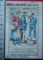 PUBLICITÉ QUINQUINA SAMOS-MAIRET APERITIF ILE SAMOS CHROMO 1880 ANCIENNE PUB ANCIEN FABRICANT TARARE BARLERIN - Advertising