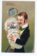 Père à Moustache Et Son Bébé, Gaufrée - Neonati