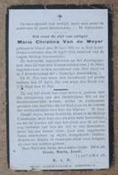 Maria Christina Van De Weyer - Gheel 20 Juni 1902 - Sint Jozef-Oolen 20 April 1919 - Esquela