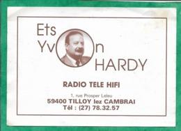 Carte De Visite Tilloy-lez-Cambrai (59) Ets Yvon Hardy Radio Télé Hifi 1 Rue Prosper-Leleu 2scans - Tarjetas De Visita