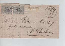 CBPN78/ TP 17 (2) S/LAC C.Furnes 13/3/1867 LOS 37 > St.Ghislain C.d'arrivée Ouverte Avec Rudesse - Postmarks - Points