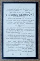 Egidius Gerinckx, Weduwenaar Van Maria Catharina Van Den Plas / Gheel 6 September 1829 - Lichtaert 3 Januari 1904 - Esquela