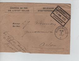 CBPN81/ Lettre C.F.de L'Etat Belge C.C.F. Florenville-Coupons 5/1/1922+c.Florenville 5/1/22 > Arlon Contenu & Griffe - Railway