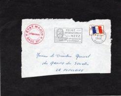 Fragment De Devant D'enveloppe - Cachet ETAT MAJOR - BASE 901 / Cachet Metz Gare Sur Timbre FM - Marcofilie (Brieven)