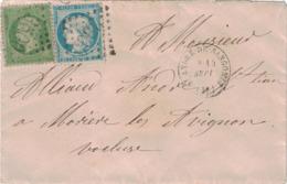 HERAULT - ST ANDRE DE SANGONIS - AFRANCHISSEMENT DE SEPTEMBRE 1871 - N°20+N°37 - ONLITERATION GC3500 - LETTRE POUR MORIE - Marcofilie (Brieven)