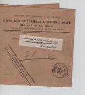 CBPN85/ Manchon Exposition Universelle&Internationale Liège 1905 (Ministère Industrie&Travail) C.Liège 12/8/1905 > BXL - 1905 – Lüttich (Belgien)