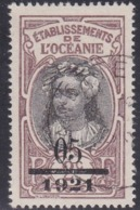 French Oceania, Scott #57, Used, Tahitian Girl Surcharged, Issued 1921 - Oceania (1892-1958)