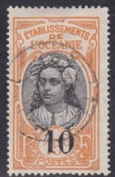 French Oceania, Scott #56, Used, Tahitian Girl Surcharged, Issued 1916 - Oceania (1892-1958)