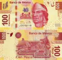 MÉXICO 100 Pesos, 2016, P124, Series BB, Nezahualcoyotl, UNC - Mexico