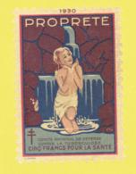 Timbre Antituberculeux Grand Format Dit Tub-Auto à 5 Francs 10.8 X 11.8 Propreté 5 Francs Pour La Santé - Commemorative Labels